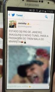 Zdjęcie opublikowane przez jednego z gwałcicieli na koncie na Twitterze. Źródło: www.brasil.elpais.com