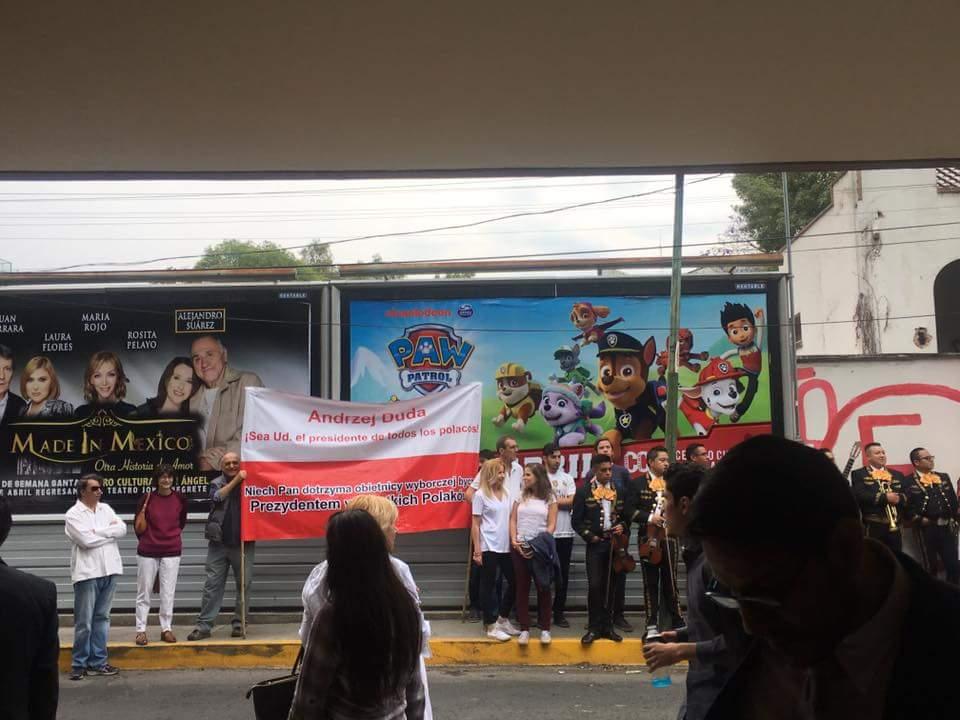 Demonstracja pod ambasadą RP w Meksyku. Foto: mat. własne