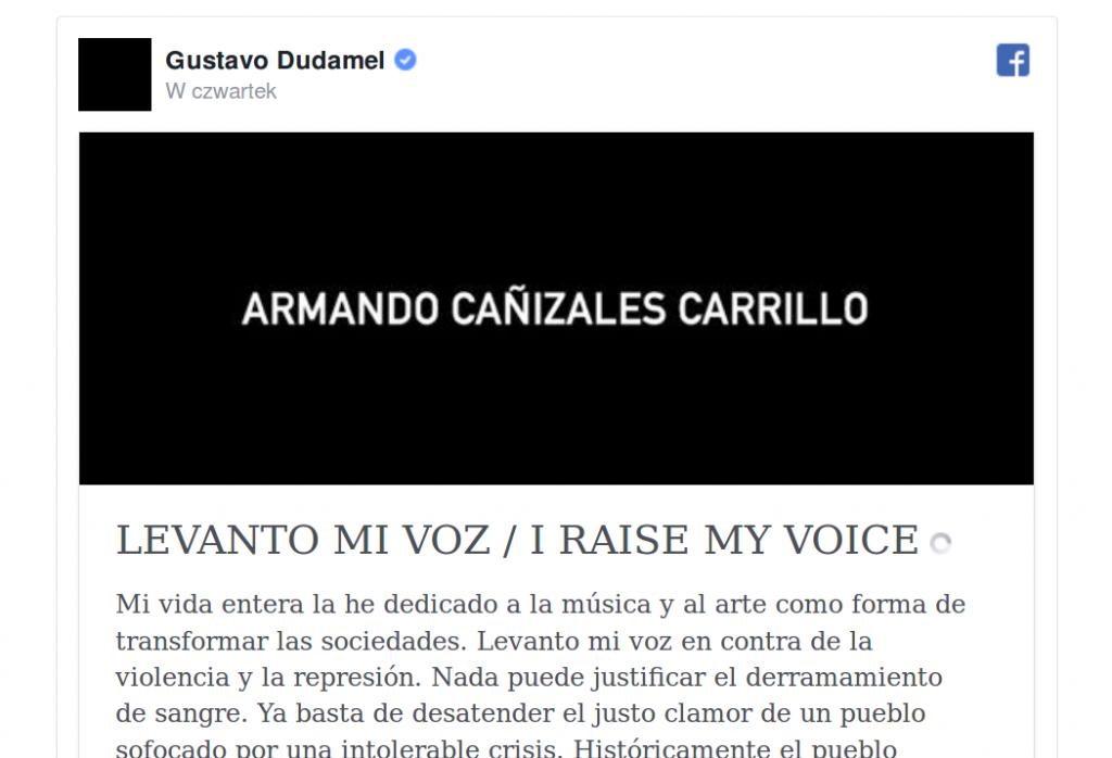 Gustavo Dudamel wzywa do porozumieniaGustavo Dudamel wzywa do porozumienia